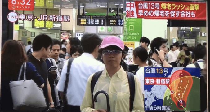 ピンク帽子in新宿駅